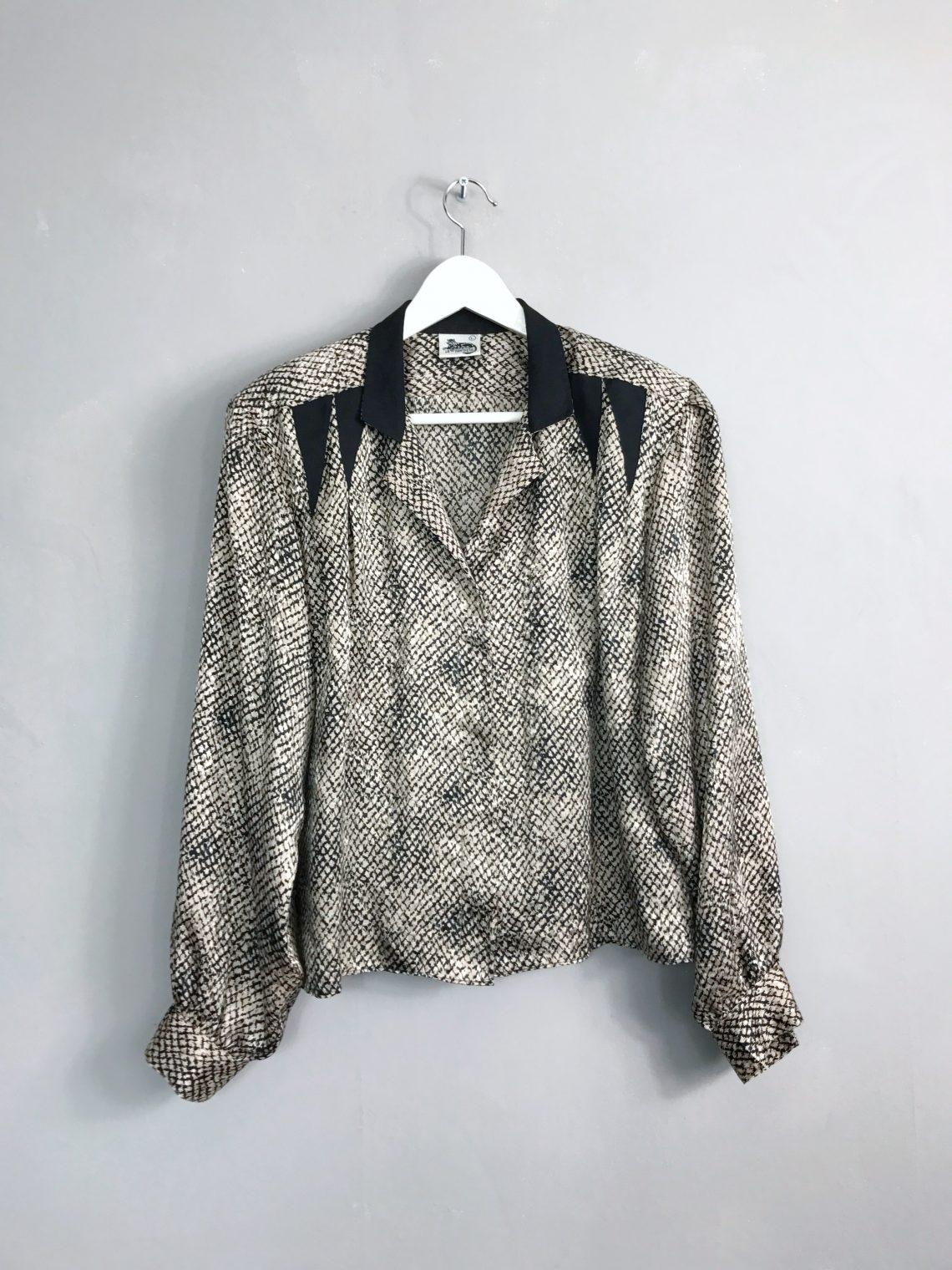 LA PANTHERA Vintage Bluse mit Schulterpolstern