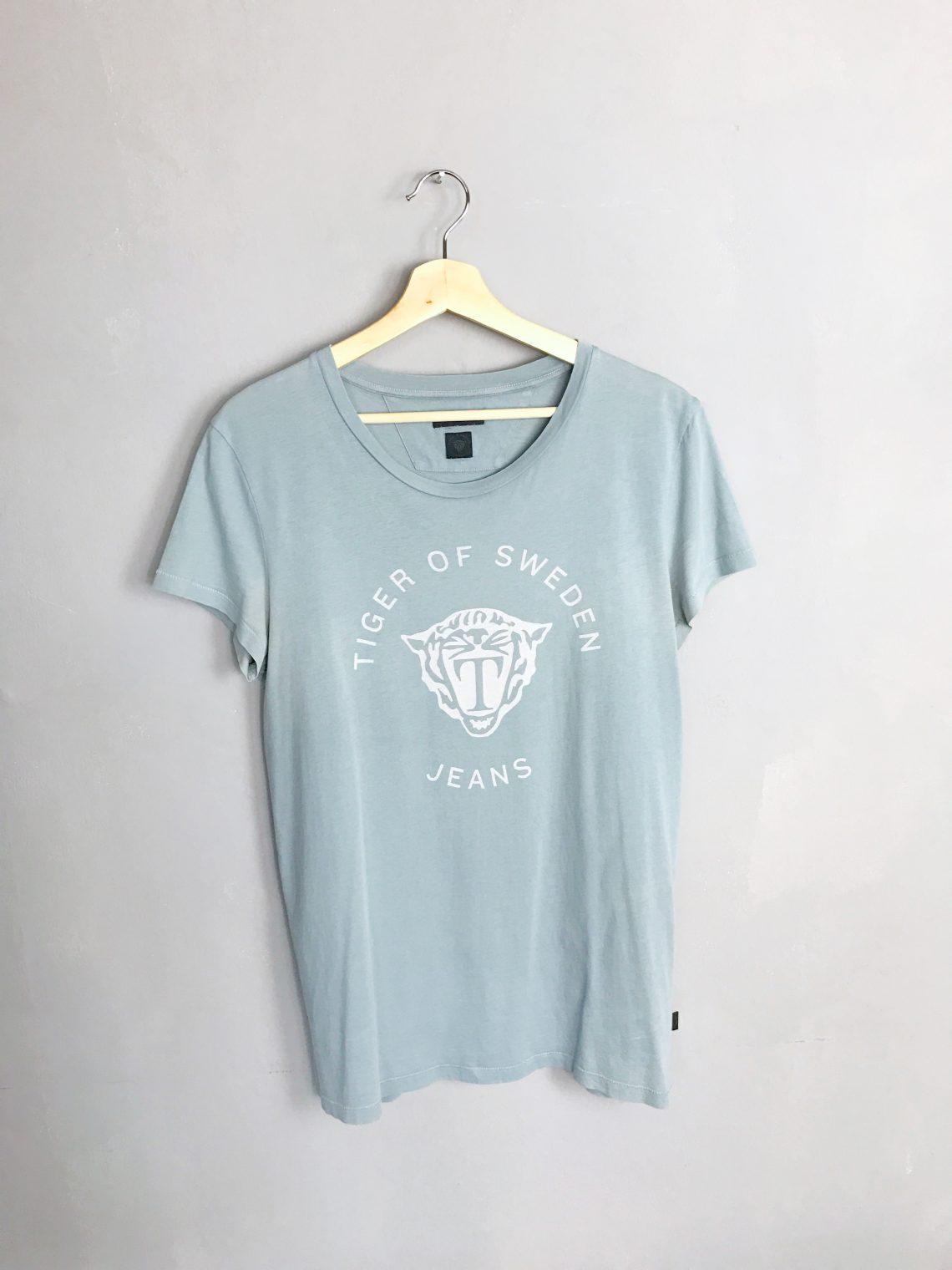 TIGER OF SWEDEN Crewneck T-Shirt Logo Print graublau