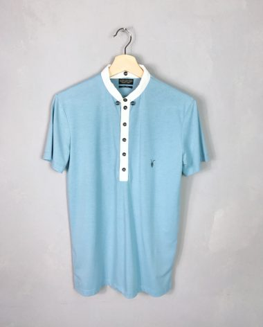 ALL SAINTS Poloshirt hellblau flexibler Kragen