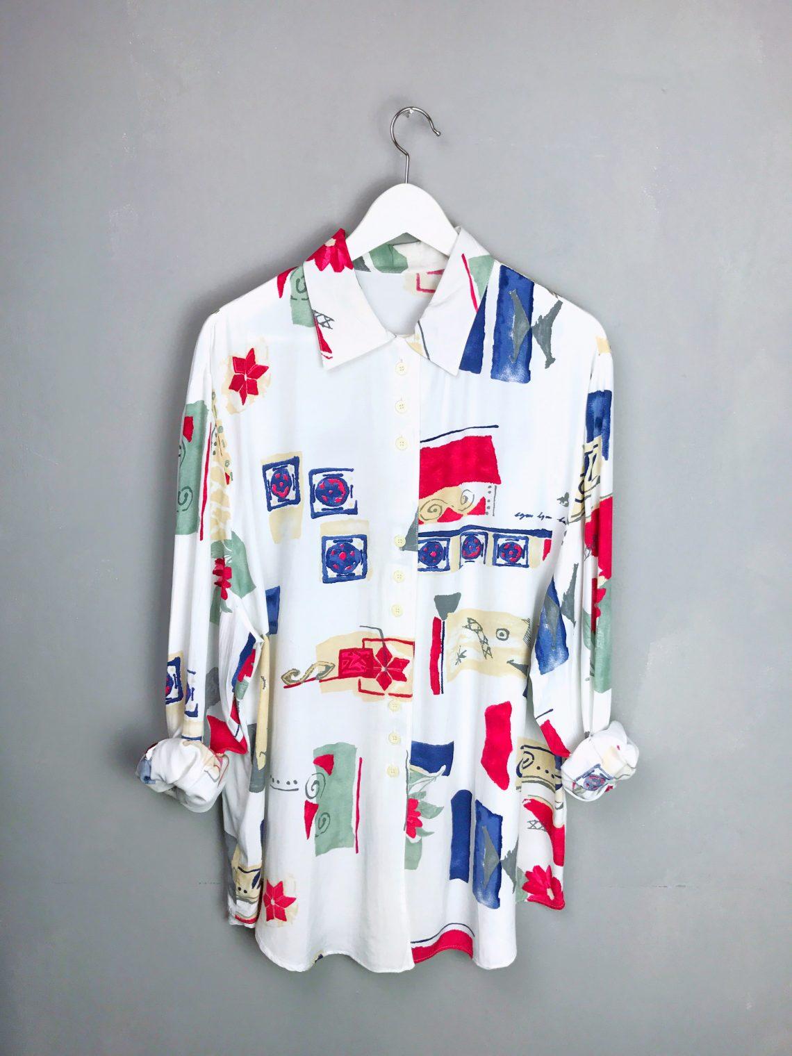 VINTAGE Langarm Bluse Hemd Viskose bunt