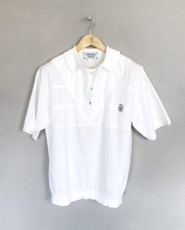 PETROCELLI CAMICIE Vintage Poloshirt weiß white polo strukturiert structure