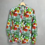 GNIOUS Langarm Hemd Baumwolle robust cotton bunt Blumen Sommer floral print