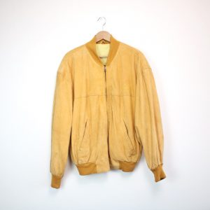 HUGO BOSS TWENTY Vintage Wildleder Bomberjacke Suede Bomber Wildlederjacke leather jacket gelb apricot yellow